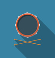Flat design drum and drum sticks icon with long vector image