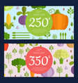 flat vegetables vegan shopping voucher vector image