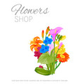 flowers shop floral poster with peopy lily roses vector image vector image