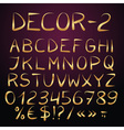 Golden decorative english alphabet vector image
