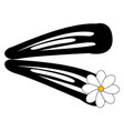 hairpin with flower on white background vector image vector image