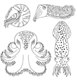 Hand drawn cephalopods for coloring book vector image vector image