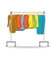 Hanger rack with warm women clothes winter set vector image