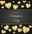 happy valentines day greeting card golden heart vector image vector image
