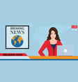 headline or breaking news woman tv reporter vector image