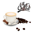 hot coffee white coffee cup coffee bean white back vector image vector image