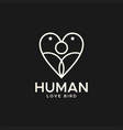 human love bird abstract logo vector image vector image