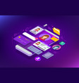 isometric personal data information app identity vector image vector image