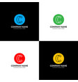 letter c with lines logo icon flat design vector image vector image