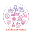 line icons amusement park round logo design vector image