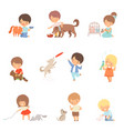 little children taking care domestic animals vector image vector image