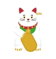lucky cat hold coin japan icon vector image vector image