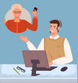 managers in call center hotline online customer vector image vector image