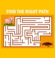 maze game finds the pig way get to the mud vector image vector image