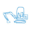 mechanical digger mono line vector image