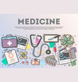 medicine top view banner in line art style vector image vector image