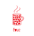 Mug with hearts and steam Love card vector image