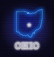 neon map state ohio on a brick wall background vector image vector image