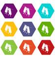 pants drying icons set 9 vector image