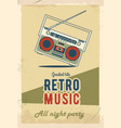 Retro party poster design music event at night