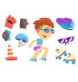 roller skating boy set for label design colorful vector image vector image
