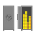 safe - closed and open strongbox with money vector image