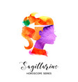 sagittarius sign beautiful girl silhouette vector image vector image