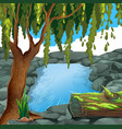 scene with river in forest vector image vector image