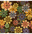 seamless flower pattern on brown texture vector image