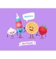 set breakfast characters cute cartoons vector image vector image