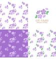 set of seamless violet flowers pattern vector image