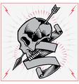 Skull Arrow and Ribbon vector image vector image