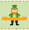 St Patricks Day leprechaun card vector image