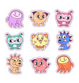 stickers set pop art style with cartoon monsters vector image vector image