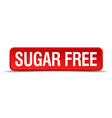 Sugar free red 3d square button isolated on white vector image vector image