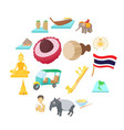 thailand icons set cartoon style vector image