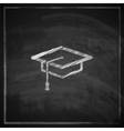vintage with graduation cap sign on blackboard vector image vector image
