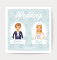 wedding invitation card with happy married vector image vector image