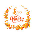 wreath beautiful fall leaves vector image