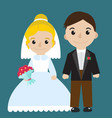 bride and groom icon characters flat style vector image