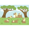 Fluffy dog and her puppies vector image