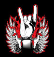 hand showing the rock and roll sign vector image