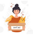 adopt a pet with woman and animals
