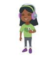 african girl listening to music in headphones vector image vector image