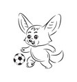 black and white smiling fennec fox who plays vector image