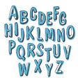blue doodles alphabet vector image