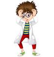 boy in science gown looking worried vector image