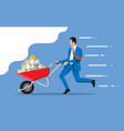 businessman pushing wheelbarrow full money vector image