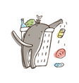 cat throwing trash out of litter bin or bucket vector image