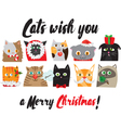 christmas cats portraits cute animal characters vector image vector image